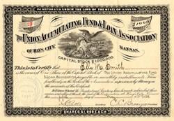 Union Accumulating Fund & Loan Association - Hays City, Kansas 1891