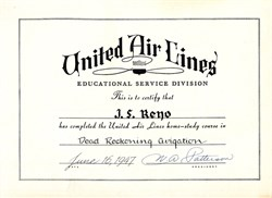 "United Airlines Educational Service Department United Air Lines Educational Service Department hand signed by the Company's President, William A. ""Pat"" Patterson- 1947"