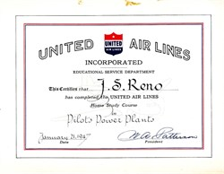 "United Air Lines Educational Service Department hand signed by the Company's President, William A. ""Pat"" Patterson- 1947"