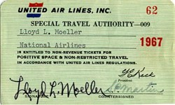 United Air Lines Special Travel Authority Pass - 1967