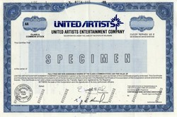 United Artists Entertainment Company (Acquired by Tele-Communications Inc) Stock Certificate - Delaware 1989