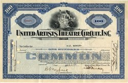 United Artists Theatere Circuit, Inc. (Handsigned by President, Harry D. Buckley, and Secretary, Bertram S. Nayfack )- Maryland 1930