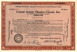 United Artists Theatre Circuit, Inc. signed by Jacob J. Shubert - Maryland 1957