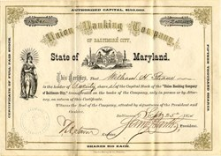Union Banking Company of Baltimore City (Management Convicted of Fraud) - Maryland 1874