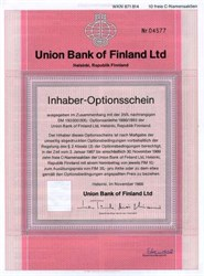 Union Bank of Finland Ltd (Unitas Ltd Group )