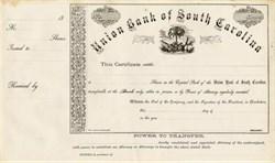 Union Bank of South Carolina (vignette of a Palmetto tree)  - South Carolina 1860's