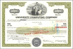 University Computing Company - Convertibile $1,000 Bond - Charles Wyly Jr as President 1977