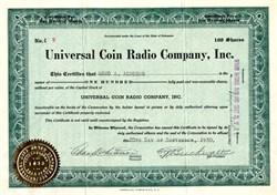 Universal Coin Radio Company, Inc. - Delaware 1930