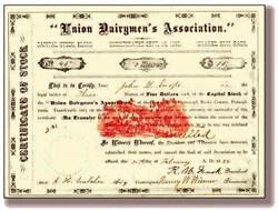 Union Dairymen's Association - 1883 - RARE Watermark 1776 - 1876 Centennial