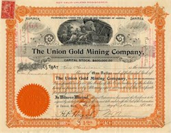 Union Gold Mining Company - Detroit, Michigan 1901