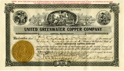 United Greenwater Copper Company (Death Valley) signed by Malcolm L. MacDonald  - 1906