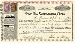 Union Hill Consolidated Mines - Nevada County, California 1900