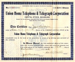 Union Home Telephone & Telegraph Corporation - Los Angeles, California 1906