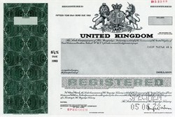 United Kingdom Registered Bond RARE Specimen (Printed signature of the Secretary to Her Majesty's Treasury, Douglas Wass) - 1978