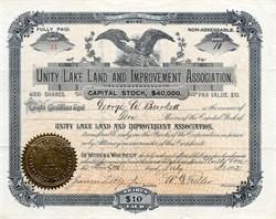 Unity Lake Land and Improvement Association - Maine 1892