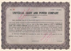 Universal Light and Power Company - Made out to E.H. Rollins and Sons