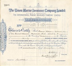 Union Marine Insurance Company Limited - England 1902