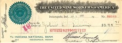 United Mine Workers of America 1931 - Hand signed by Famous Union Leader John L. Lewis