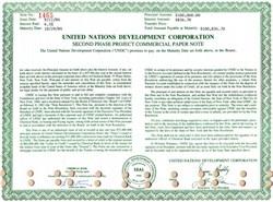 United Nations Development Corporation $100,000 Bond - New York 1984