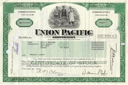 Union Pacific Corporation Stock and Picture Postcard