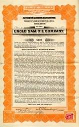Uncle Sam Oil Company Gold Bond - Arizona 1919