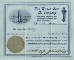 Uncle Sam Oil Company signed by swindler Henry Harrison Tucker Jr - Cherryvale, Atchison and Kansas City, Kansas and Tulsa Oklahoma - Territory of Arizona, 1910
