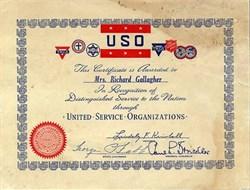 United Service Organizations (USO) Certificate - 1947