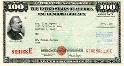 United States $100 Savings Bond Series E - 1950