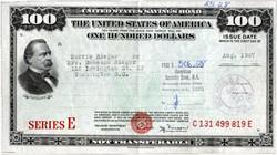 United States $100 Series E Savings Bond - 1947