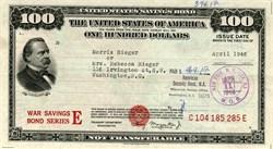 United States $100 War Savings Bond Series - 1947