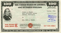 United States $100 War Savings Bond Series E  (Uncancelled)- 1944