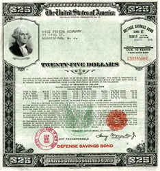 United States $25 Defense Savings Bond (Issued prior to Pearl Harbor Attack) - Large Size - WWII September 1941