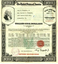 United States $25 Defense Savings Bond (Issued 4 days prior to Pearl Harbor Attack) - Large Size - WWII December, 4 1941