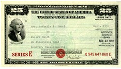 United States $25 Uncancelled War Savings Bond Series - WWII War Bond 1945