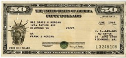 Freedom Share United States $50 Share Savings Note ( IBM Punch Card Stock) - 1969