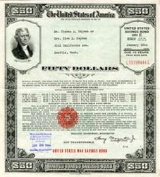 United States $50 Savings Bond (Large Size)  - World War II - Washington, D.C. 1942, 1943, 1944