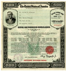 $500 United States Defense Savings Bond - Large Size - WWll - RARE issued in December 1941