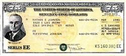 United States $75 Savings Bond ( IBM Punch Card Stock) - 1981