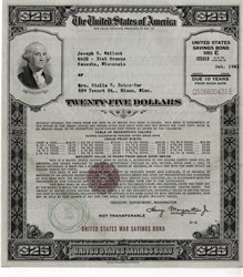 United States $25 War Savings Bond - Large Size - WWll 1942,1943,1944