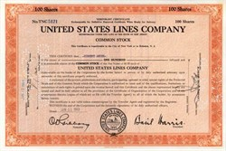 United States Lines Company 1943 - issued to Vincent Astor