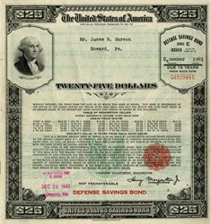 U. S. $25 WWII Defense Savings Bond issued in December 1941 three weeks after Pearl Harbor Attack