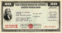 United States of America $50 WWII War Savings Bond Series E - 1944, 1945