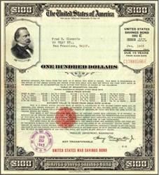 United States $100 War Savings Bond - Large Size - 1942, 1943, 1944