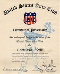 United States Auto Club Certificate of Performance