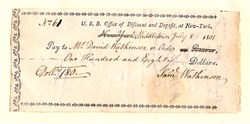 United States Bank Office of Discount and Deposit at New York (First Bank of the United States )  signed by Samuel Watkinson - Middletown, Connecticut 1802