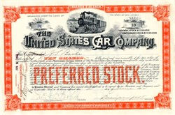United States Car Company signed by Jules S. Bache ( Bache & Co.)  - New Jersey 1894