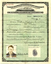 Seaman's Certificate from United States Department of Commerce - 1940