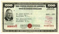 United States $200 Dollar Savings Bond (Rarest denomination) - Washington, D.C. 1946