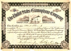 ' United States Gramophone Company signed by Emile Berliner - Gramophone Vignette (Grammy Awards named after Gramophone)  RARE- 1900
