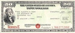 United States $50 Savings Bond ( IBM Punch Card Stock) - 1970